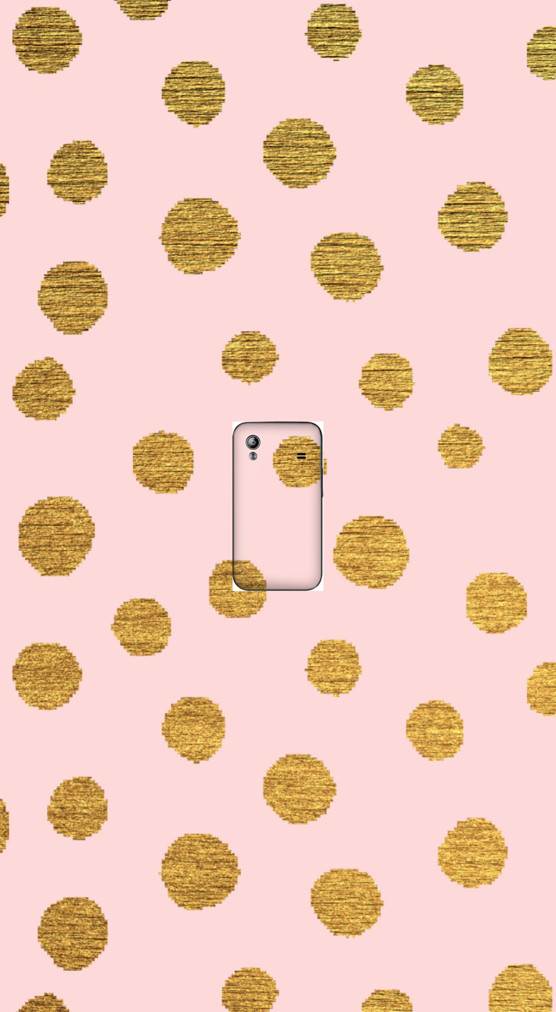 housse GOLDEN DOTS AND PINK. a clapet pour Samsung Galaxy Ace S5830