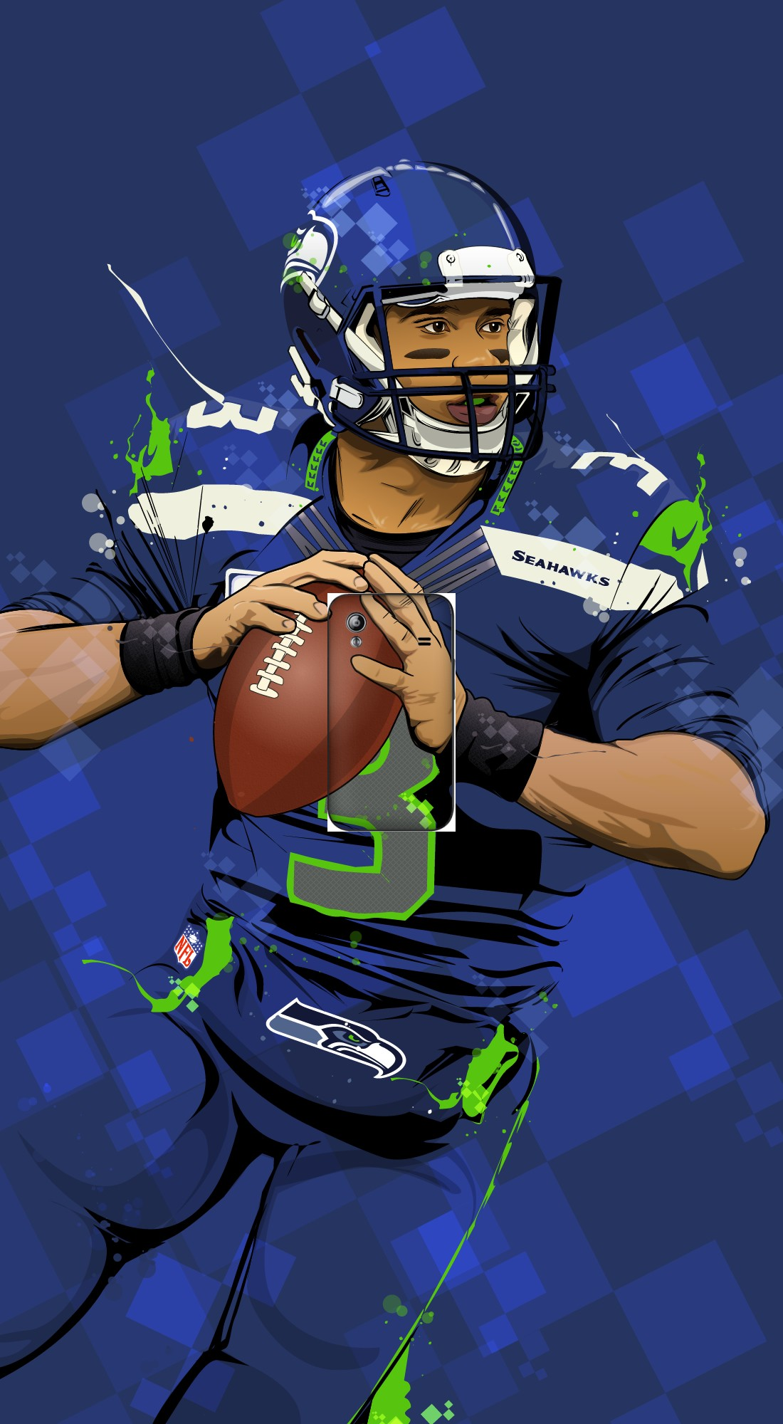 housse Seattle Seahawks: QB 3 - Russell Wilson a clapet pour Samsung Galaxy Ace S5830