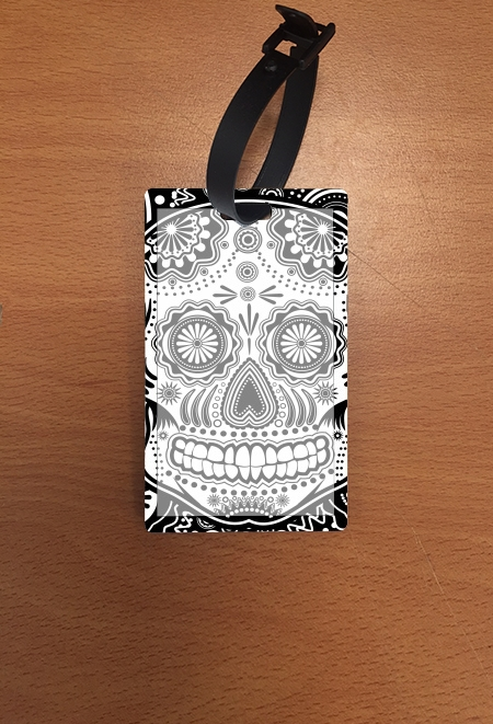étiquette bagage black and white sugar skull