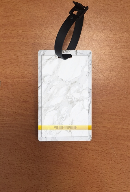 étiquette bagage Minimal Marble White
