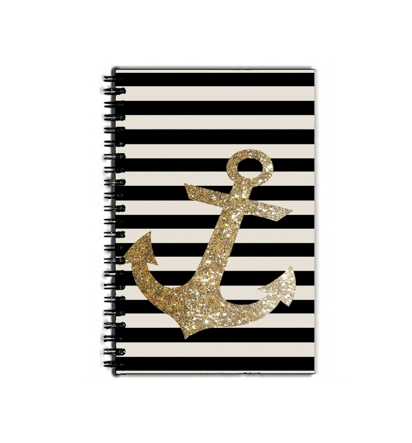 cahier de texte gold glitter anchor in black