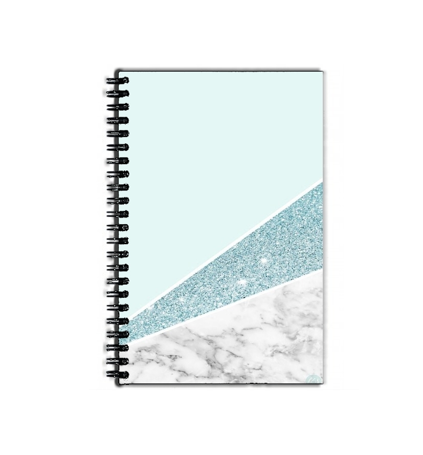 cahier de texte Initiale Marble and Glitter Blue