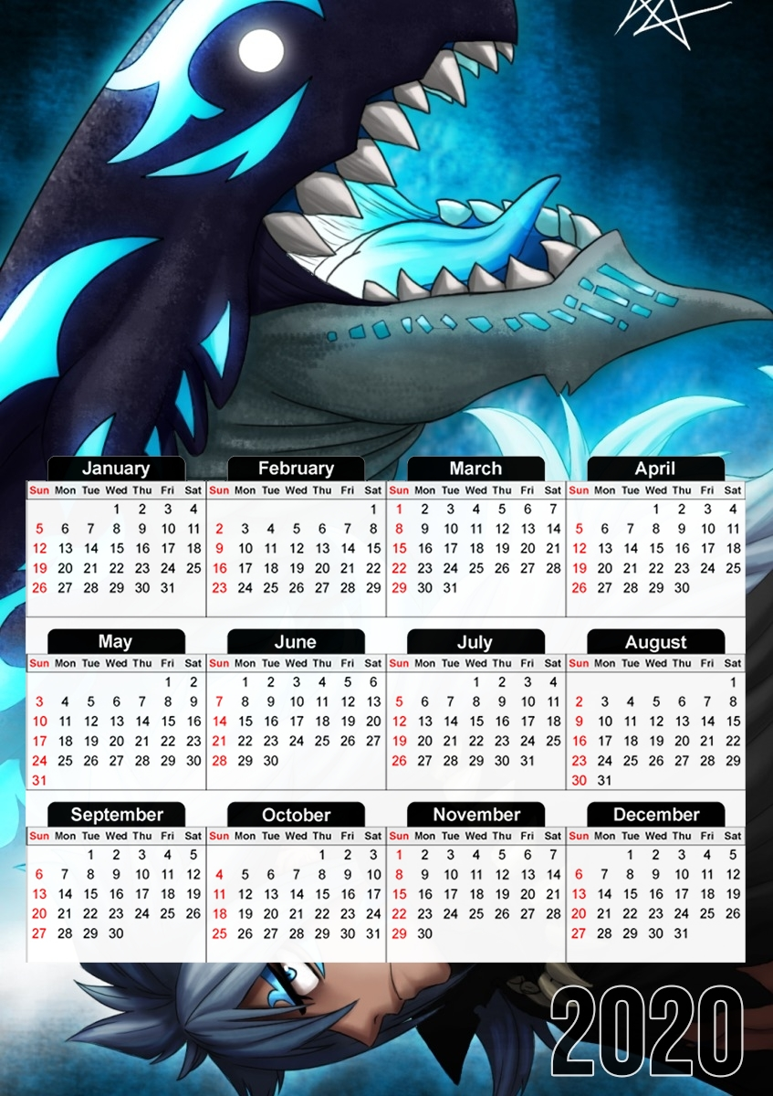 Calendrier Acnalogia Fairy Tail Dragon 30x43cm format A3