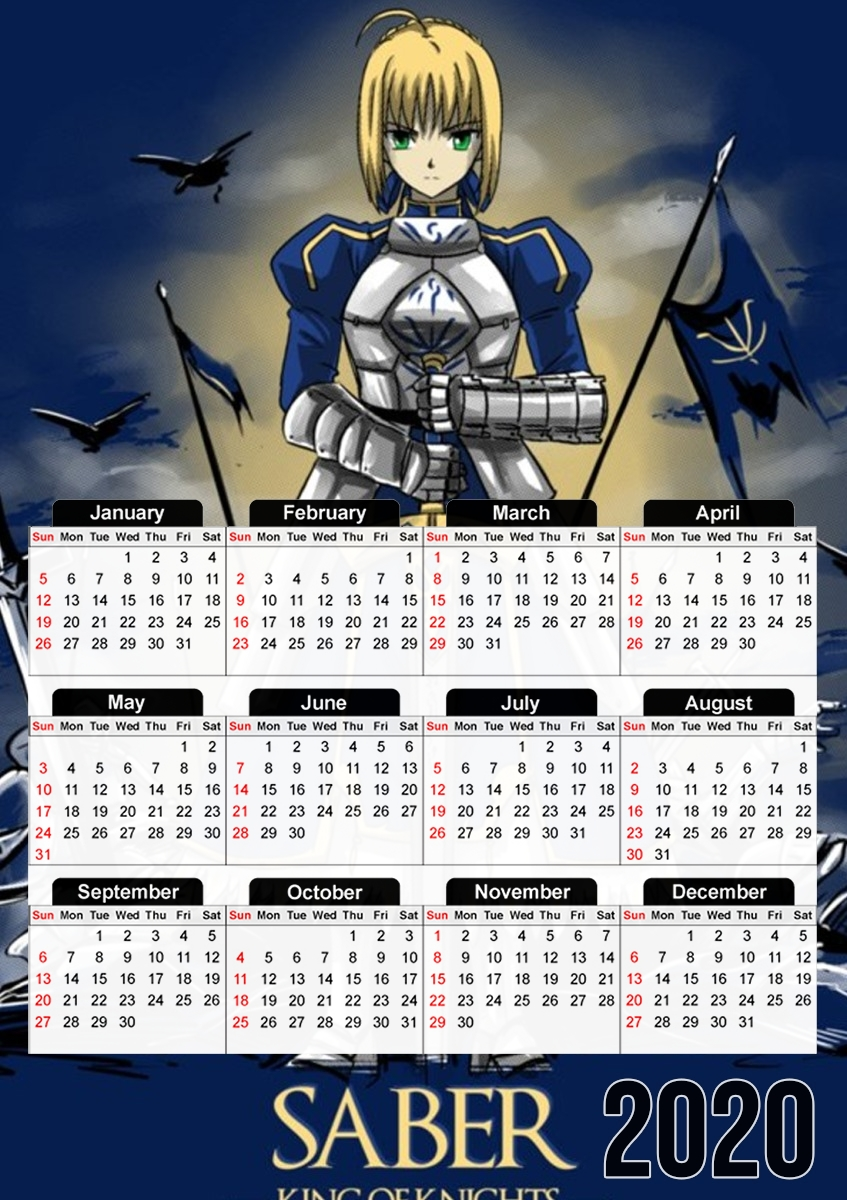 calendrier Fate Zero Fate stay Night Saber King Of Knights 2019 / 2020
