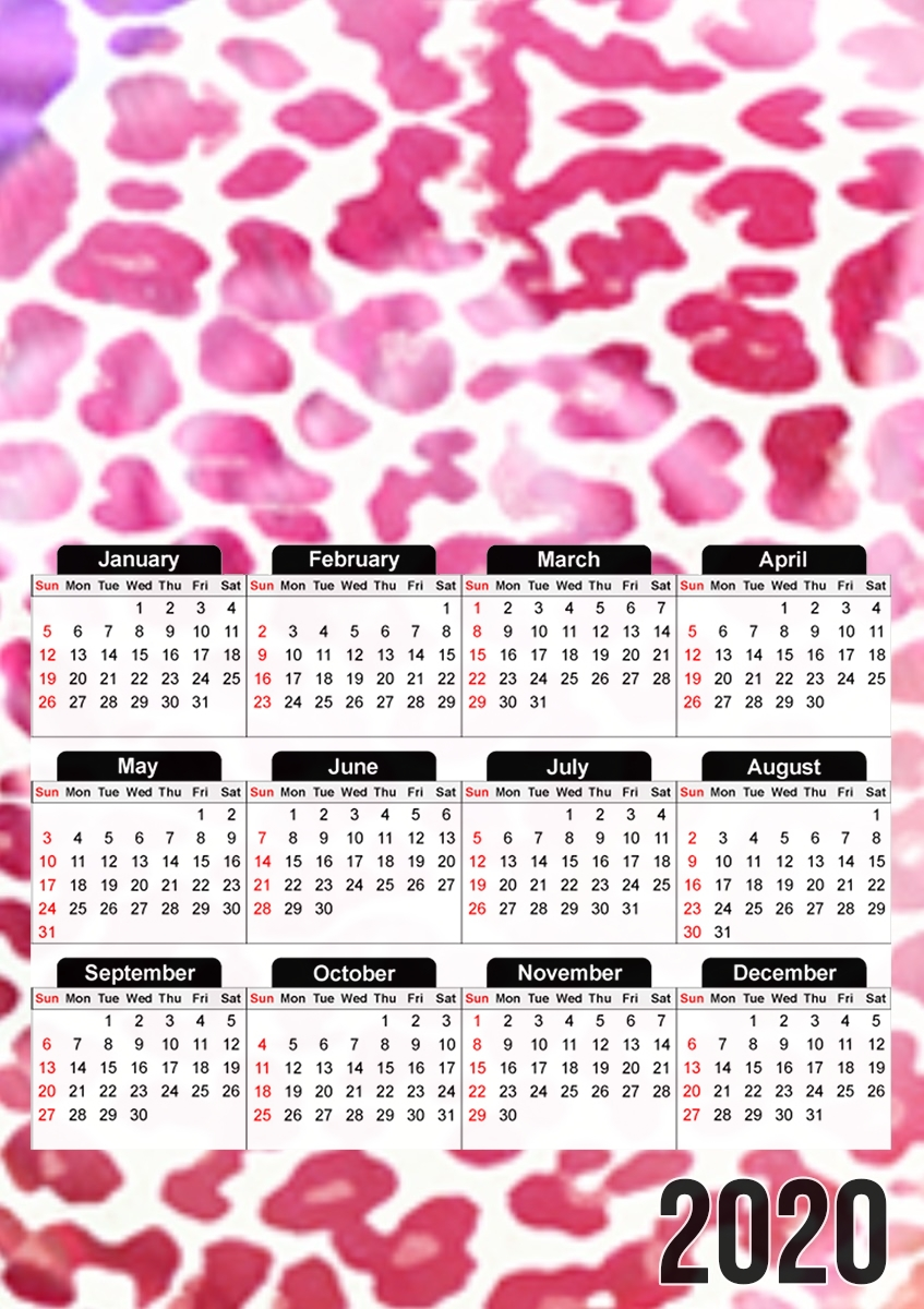 Calendrier GIRLY LEOPARD 30x43cm format A3