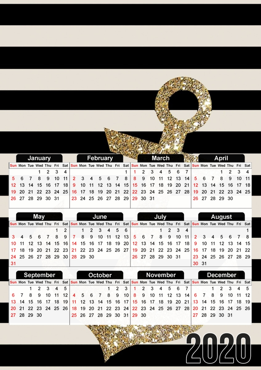 calendrier gold glitter anchor in black 2019 / 2020