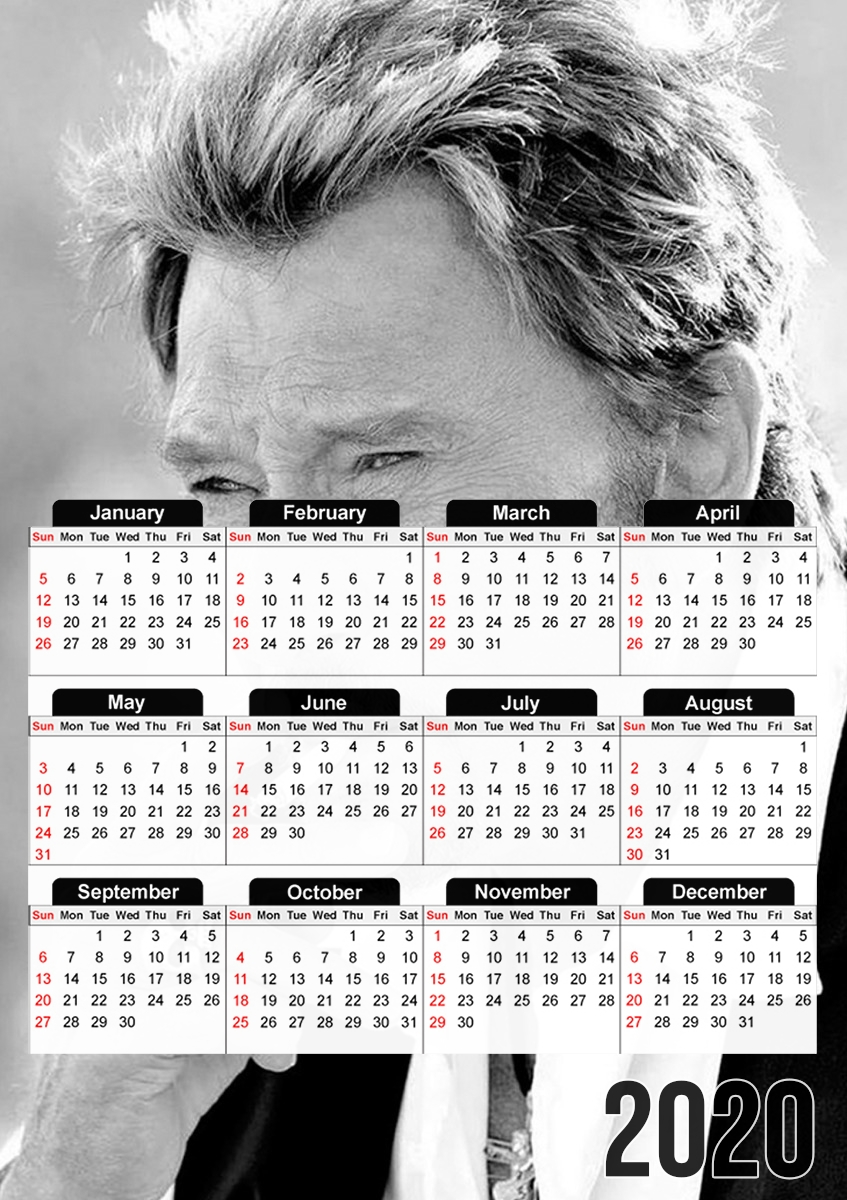 Calendrier johnny hallyday Smoke Cigare Hommage