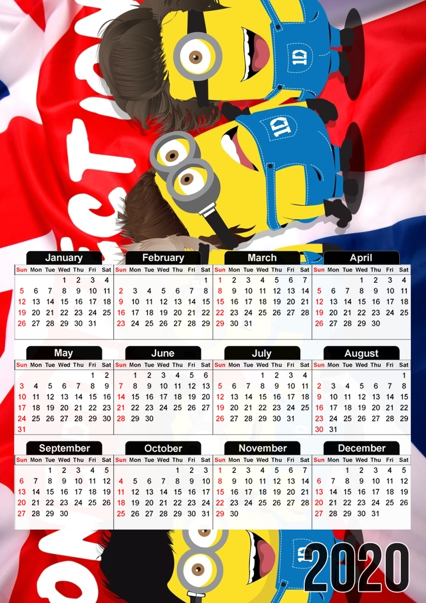 calendrier Minions mashup One Direction 1D 2019 / 2020