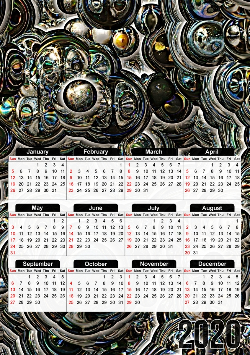 calendrier Silver glitter bubble cells 2020 / 2021