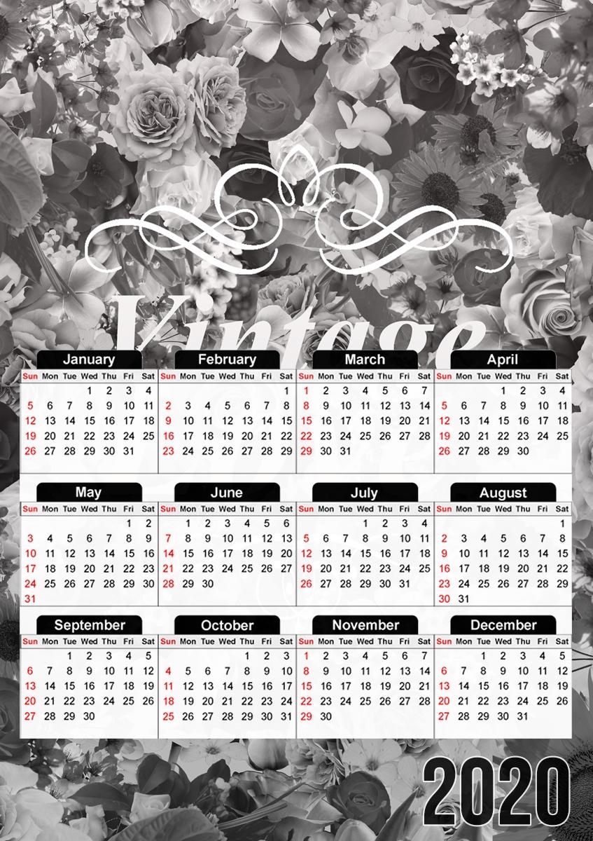 Calendrier Salon Vintage 2021 Calendrier Vintage love en noir et blanc 30x43cm format A3