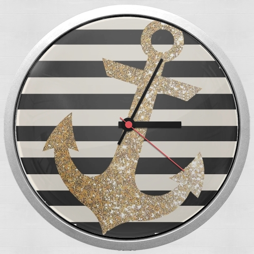 horloge gold glitter anchor in black