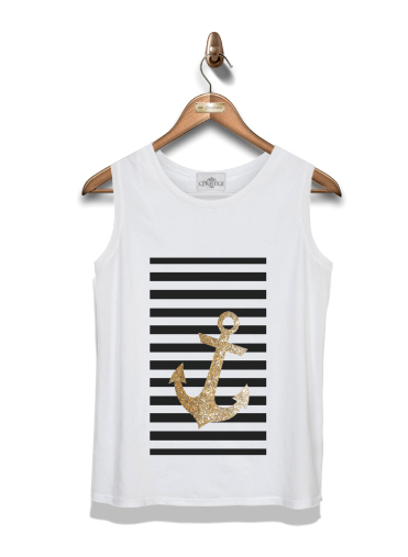 débardeur gold glitter anchor in black