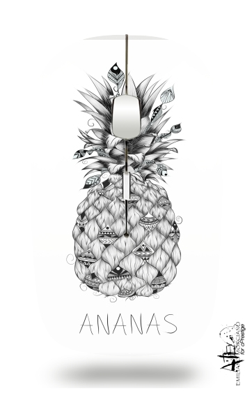 souris ananas en noir et blanc sans fil avec r cepteur usb personnalis e. Black Bedroom Furniture Sets. Home Design Ideas