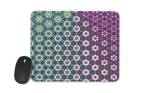 Tapis Abstract bright floral geometric pattern teal pink white