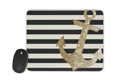 tapis de souris gold glitter anchor in black