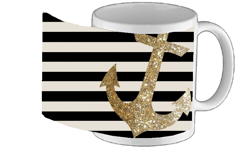mug gold glitter anchor in black