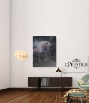 poster A dreamlike Unicorn walking through a destroyed city
