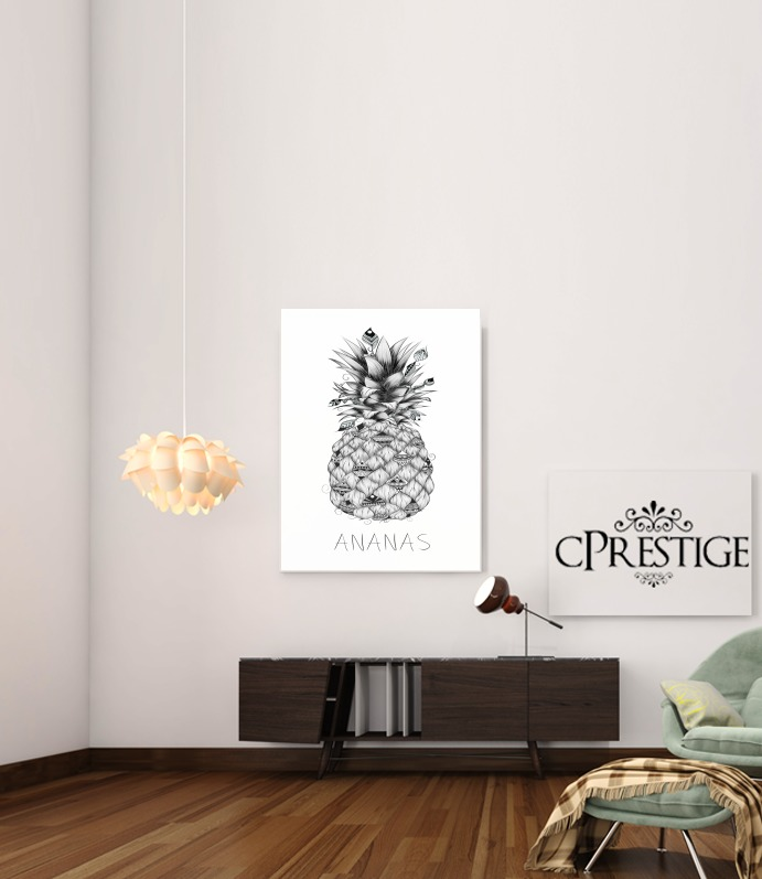 poster ananas en noir et blanc adh sif 30 40 cm personnalis e. Black Bedroom Furniture Sets. Home Design Ideas