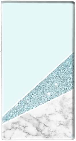 batterie motif Initiale Marble and Glitter Blue