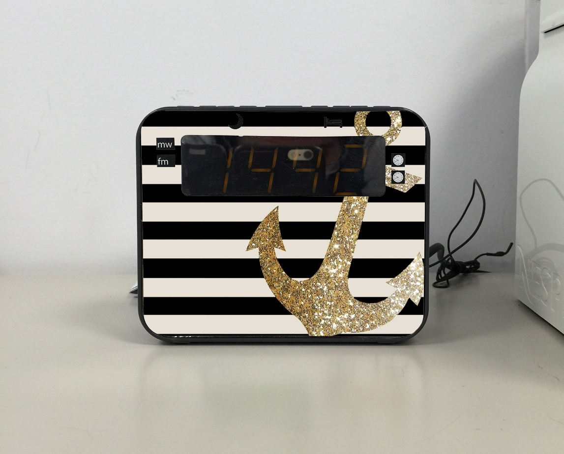 Radio-réveil gold glitter anchor in black