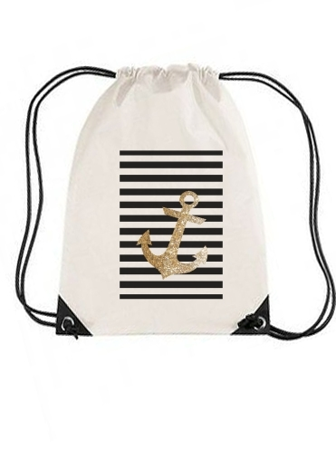 sac de sport gold glitter anchor in black avec cordon
