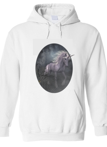 pull capuche hoodie A dreamlike Unicorn walking through a destroyed city