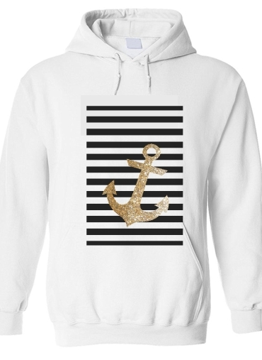 pull capuche hoodie gold glitter anchor in black