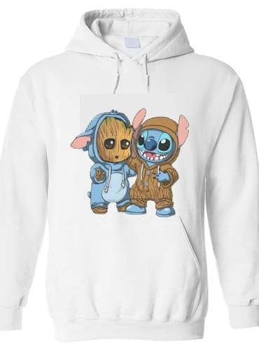 pull capuche hoodie Groot x Stitch