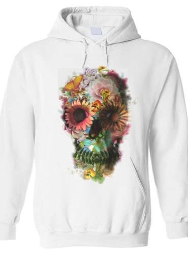 Sweat-shirt Skull Flowers Gardening