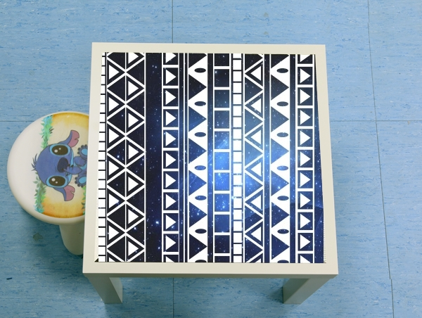 table d'appoint Aztec Tribal ton bleu