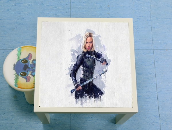 table d'appoint Black Widow Watercolor art
