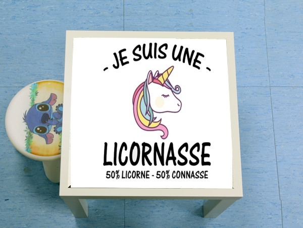 table d'appoint Je suis une licornasse 50%licorne 50% connasse
