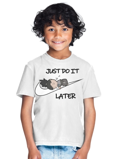 T shirt Femme Col rond manche courte Blanc Nike Parody Just do it Later X Shikamaru