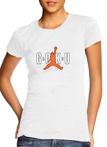 T shirt Femme Col rond manche courte Blanc Air Goku Parodie Air jordan