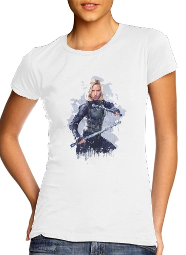 Tshirt Black Widow Watercolor art femme