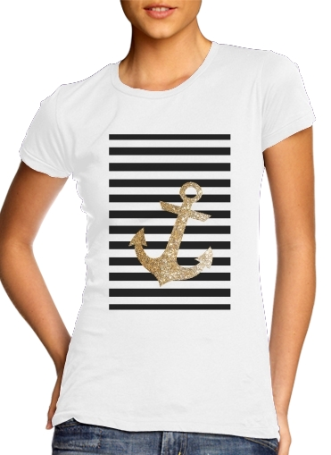 femme gold glitter anchor in black