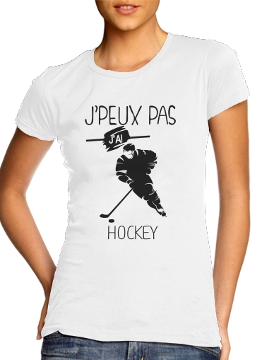Pas Manche Sur Hockey T Glace Courte Blanc Peux Shirt J'ai Col Femme Rond Je CsQxhtrd