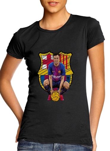 66b7e77314a98 T-shirt Femme Col rond manche courte Blanc Philippe Brazilian Blaugrana
