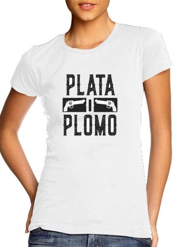 Pablo Femme Manche Plomo Narcos T O Col Blanc Rond Courte Plata Escobar Shirt 35jL4AqR