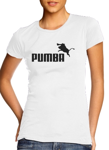 T shirt Femme Col rond manche courte Blanc Puma Or Pumba Lifestyle