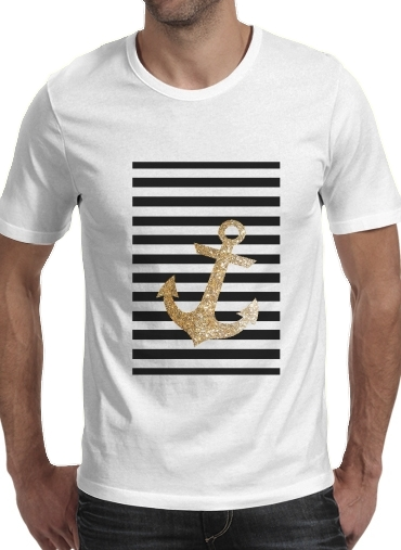 Tshirt gold glitter anchor in black homme