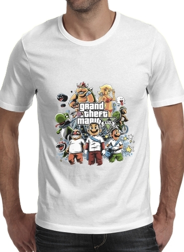 Tshirt Grand Theft Mario homme