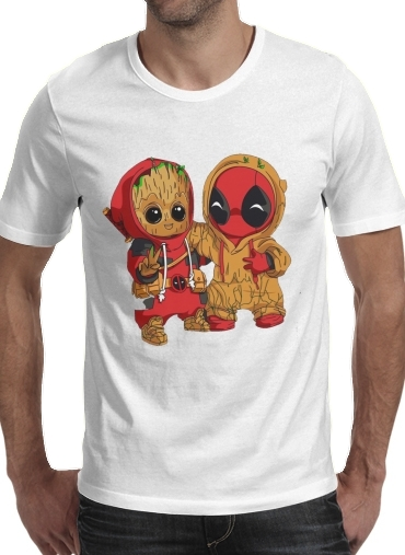 X Groot de Deadpool Manga Blanco Hombre Corta Cuello Redondo Camiseta dxBoerC