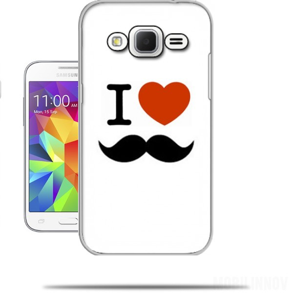 coque samsung galaxy core prime i love moustache originale. Black Bedroom Furniture Sets. Home Design Ideas