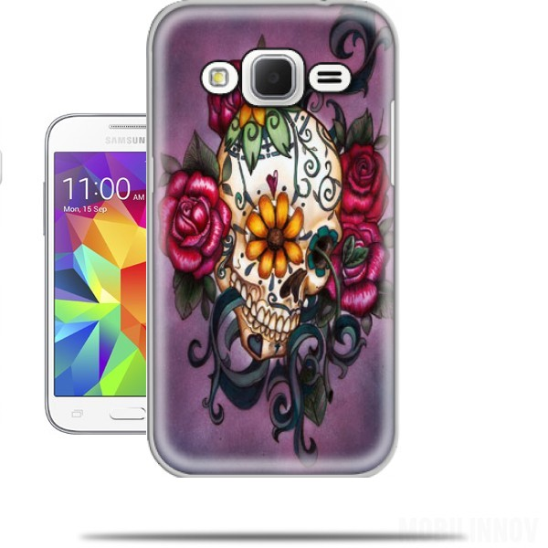 coque samsung galaxy core prime skull flowers violet originale et pas cher. Black Bedroom Furniture Sets. Home Design Ideas