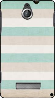 silicone aqua and sand stripes pour Sony Xperia E