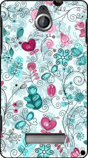 silicone doodle flowers and butterflies pour Sony Xperia E