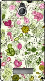 silicone doodle flowers pour Sony Xperia E
